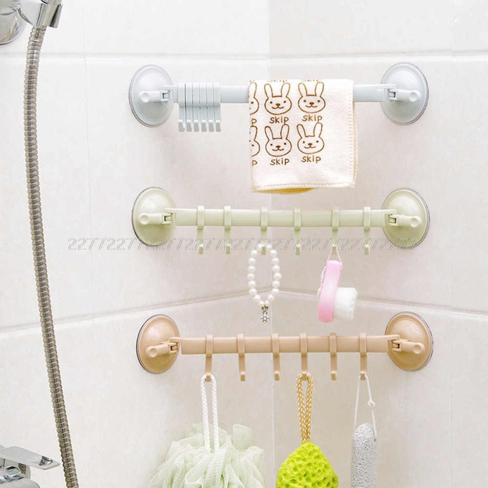 Hooks Kitchen Bathroom Plastic Wall Stand No trace Hanger Vacuum Sucker Suction Hooks JUN07 dropship