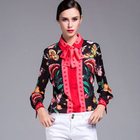 New Arrival 2017 Spring Women S Turn Down Collar Long Sleeves Printed Stars Sash Bow Fashion