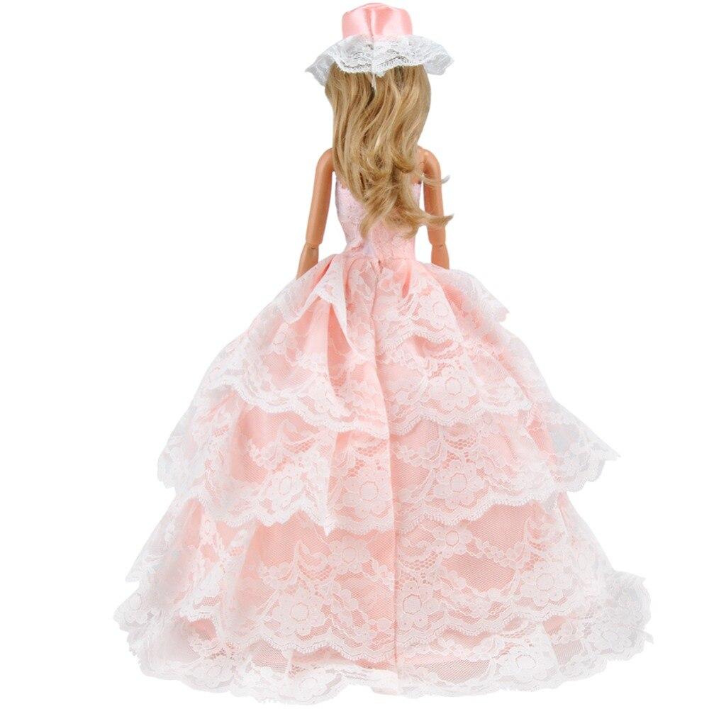 E TING Mode Pfirsich Spitzen Im Westlichen stil Kleid Für Barbie ...
