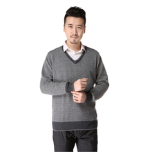 100% cashmere thick v collar sweater men autumn and winter warm atmosphere gentleman father sweater red gray multicolor-rs027