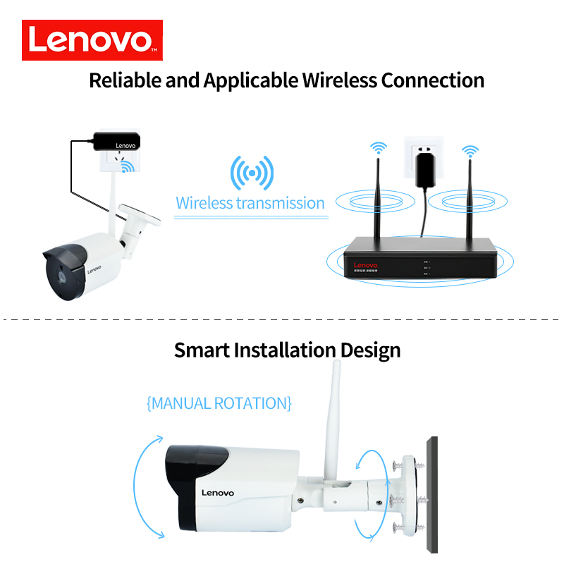 LENOVO Wireless CCTV System 1080P  outdoor CCTV Camera 2MP 8CH NVR IP IR-CUT  IP Security System video Surveillance