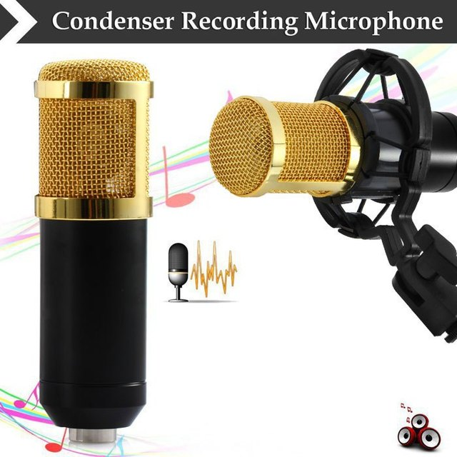 2017 SALE Karaoke Mic BM-800 BM800 Dynamic Condenser Wired Microphone Sound Studio for Recording Kit KTV film TV+Shock Mount
