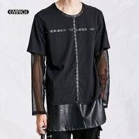 Men Mesh Long Sleeve T Shirt High Quality Punk Rock Rivets Leather Long Tees Shirt Male