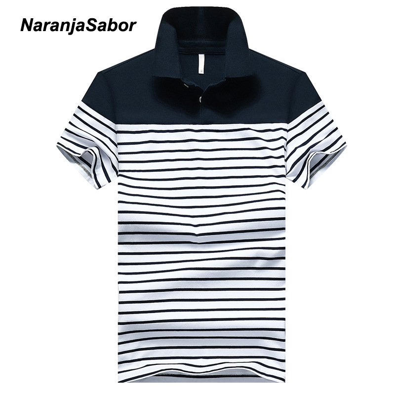 NaranjaSabor 4XL Men's Cotton   Polo   Shirt Men   Polos   Summer Brand Clothing Mens Striped Short Sleeve Turn-Down Collar   Polo   Shirts