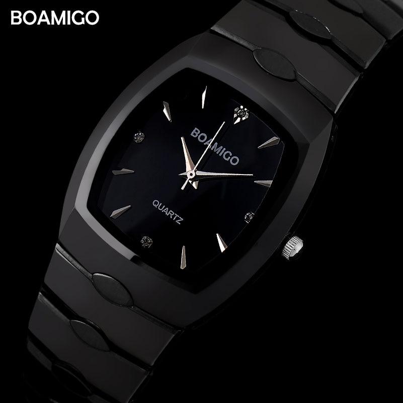 men quartz watches steel business watches 2017 BOAMIGO dress black bracelet gift wristwatches 30m waterproof Relogio Masculino