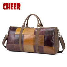 New Genuine Leather Travel bag male Bags Vintage handbag Designer Men baggage big Bag Patchwork pattern Large Duffle Bags