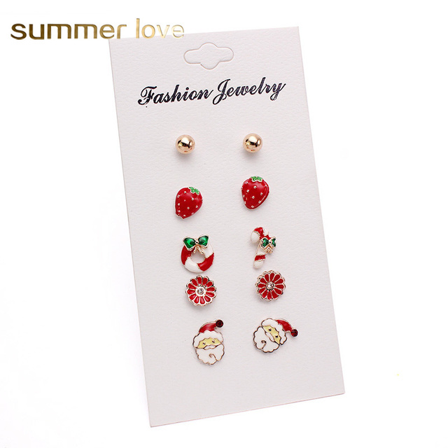 6 Pairs Cute Christmas Wreath Strawberry Butterfly Flower Stud