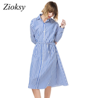 Zioksy 2017 Autumn Blue Striped Shirt Dress Fall Dresses Women Casual Lapel Long Sleeve Knee Length