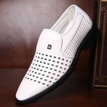 2019 Summer Style Holes Formal Shoes Men Flats Pointed Toe Mens Dress Business Oxford Braid Breathable Male