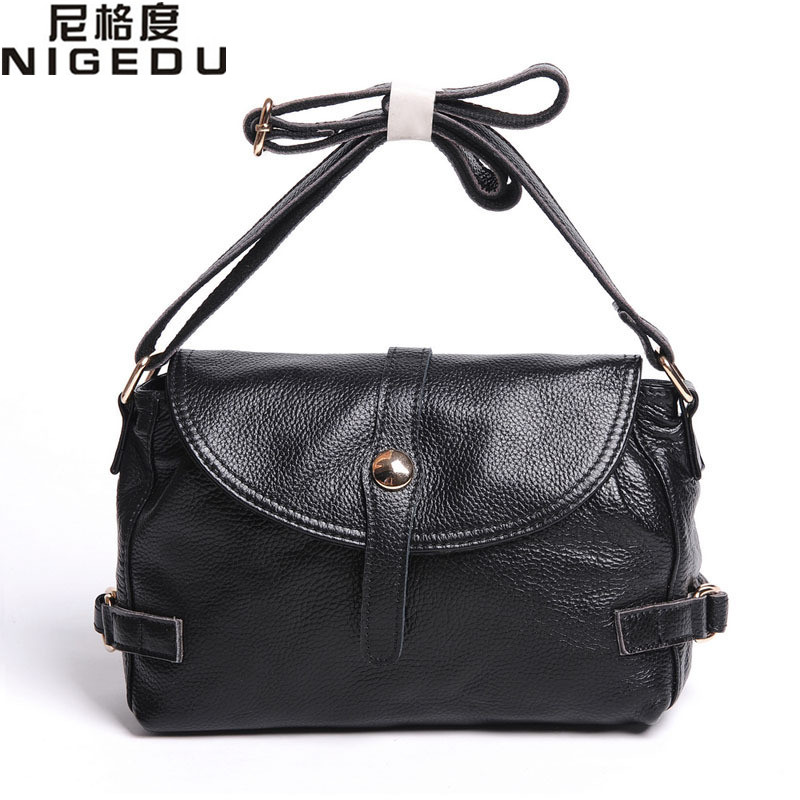 NIGEDU Brand Genuine Leather Women Messenger Bags Vintage soft Cowhide Shoulder Crossbody Bag Mother gifts Handbags bolsa franja women shoulder bags leather handbags shell crossbody bag brand design small single messenger bolsa tote sweet fashion style