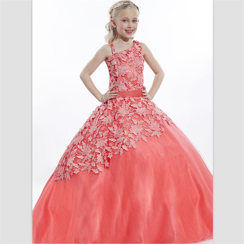 2015 Newest Orange Lace Grils Pageant Dresses Organza Ball Gown ...