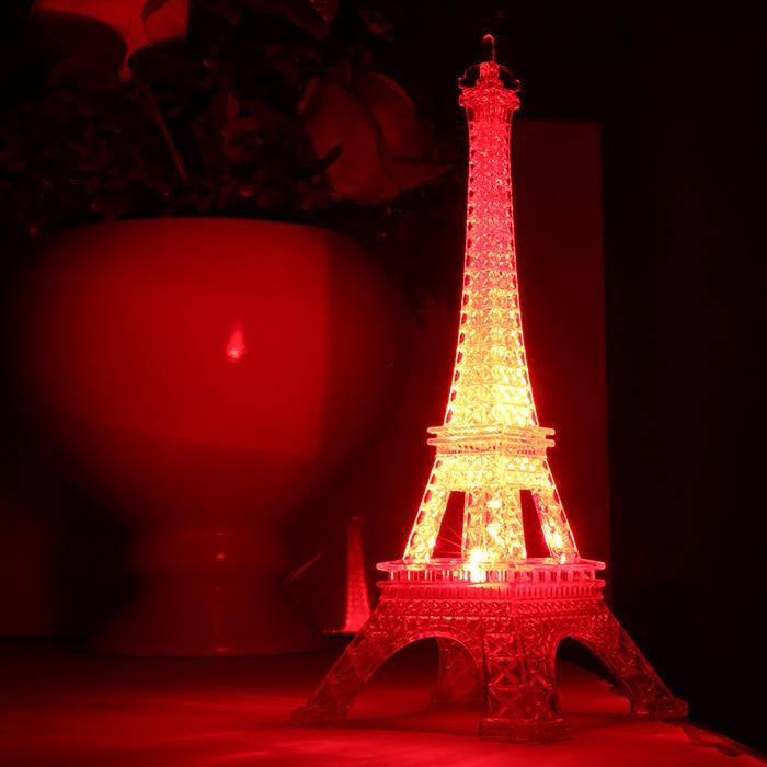 Большой Размеры Цвет Изменяемая Эйфелева башня лампы прозрачный Эйфелева лампа Дети башн ...