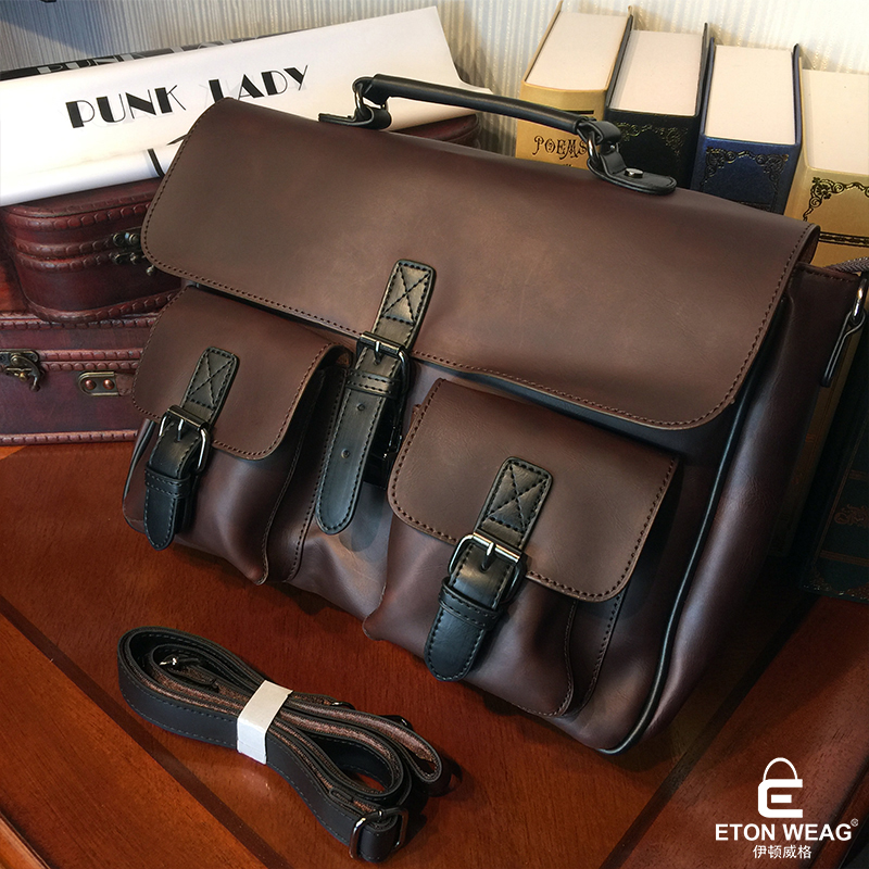 ETONWEAG Famous Brands Designer Handbags High Quality Messenger Bag Men Leather Brown Vintage Laptop Bag Pocket Mens Office Bags etonweag brands italian leather designer handbags high quality black zipper men messenger bags man business shoulder laptop bag