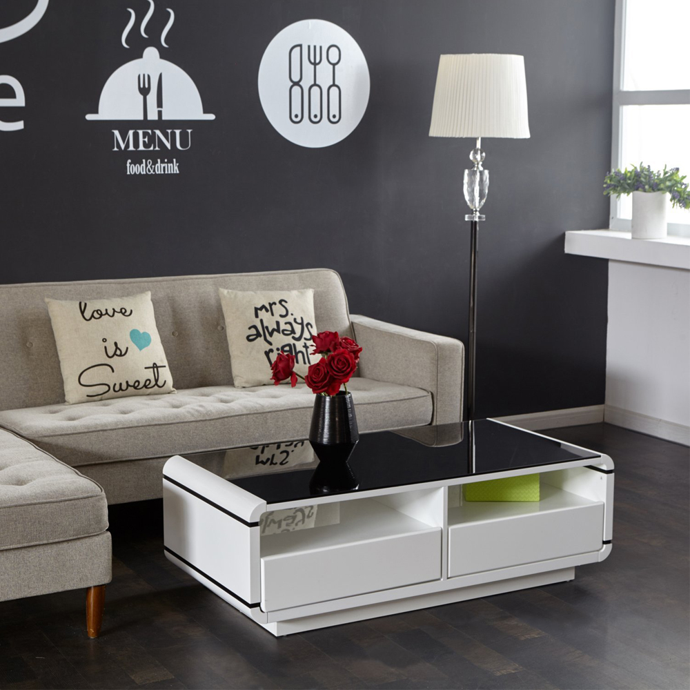Aingoo Moderne Meuble Tv Blanc Et Noir Table Basse Salon Meubles  # Salon Meuble Moderne