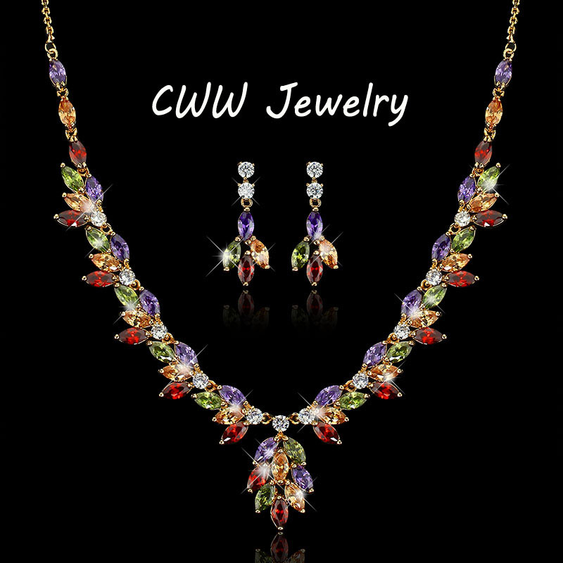 CWWZircons Beautiful In Colors Top Quality CZ Crystal Big Drop Flower Necklace Earrings Jewelry Sets For