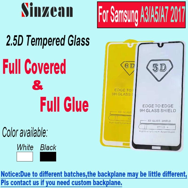 Sinzean 100pcs 2 5D Full Glue Tempered Glass for Samsung A3 2017 A5 2017 Full Cover