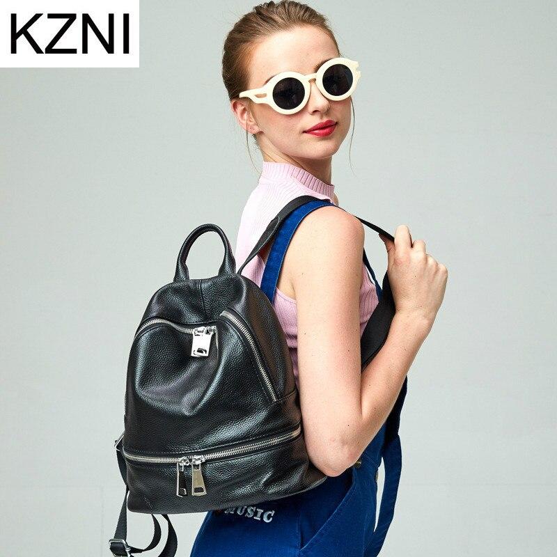 KZNI Genuine Leather Purse Women Bag Female Backpack Sac a Main Femme De Marque Bolsas Feminina L123116