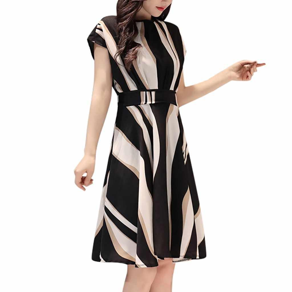 2019 mode femmes d'affaires robe ceinture o-cou à manches courtes genou longueur femmes robe d'été fête sexy plage robe offre spéciale