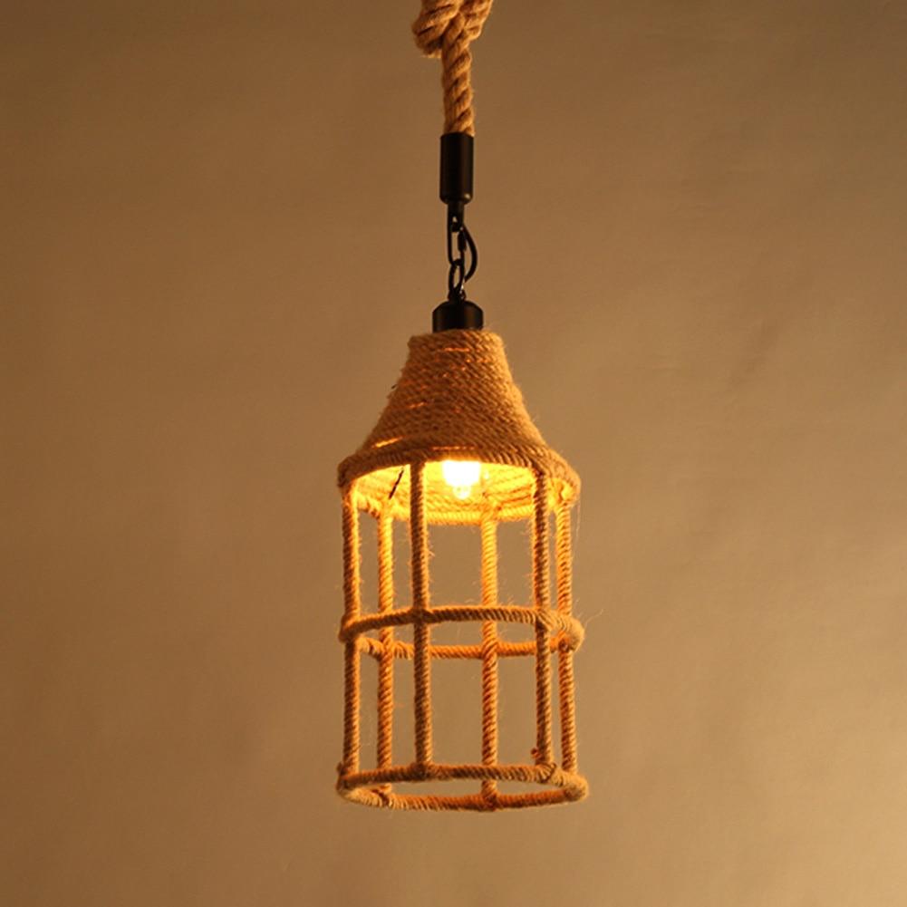 A06 American country retro pendant lamp Vintage hemp Rope Pendant Light Loft Industrial pendant Lamp Edison Bulb american country retro pendant lamp vintage hemp rope pendant light loft industrial pendant lamp edison bulb