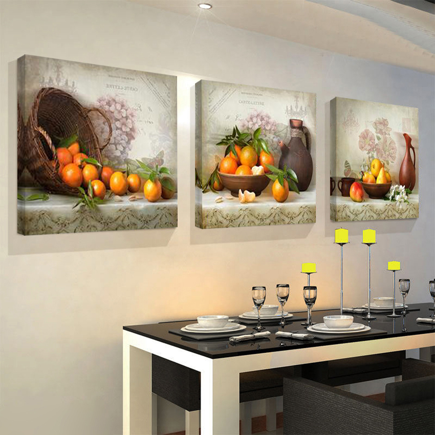 2017 kitchen fruit pictures 3 piece canvas print oil wall for Art cuisine evolution 10 piece cooking set