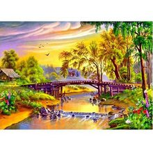 Diamond Embroidery Diamond Painting Landscape Bridge Water House Diamond Painting Cross Stitch Rhinestone Mosaic(China)
