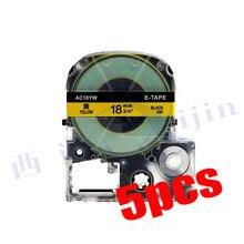 XIJIN 5pcs/lot Thermal Printer Ribbon Tape Compatible for KingJim Black on Yellow SC18YW 18mm x 8m