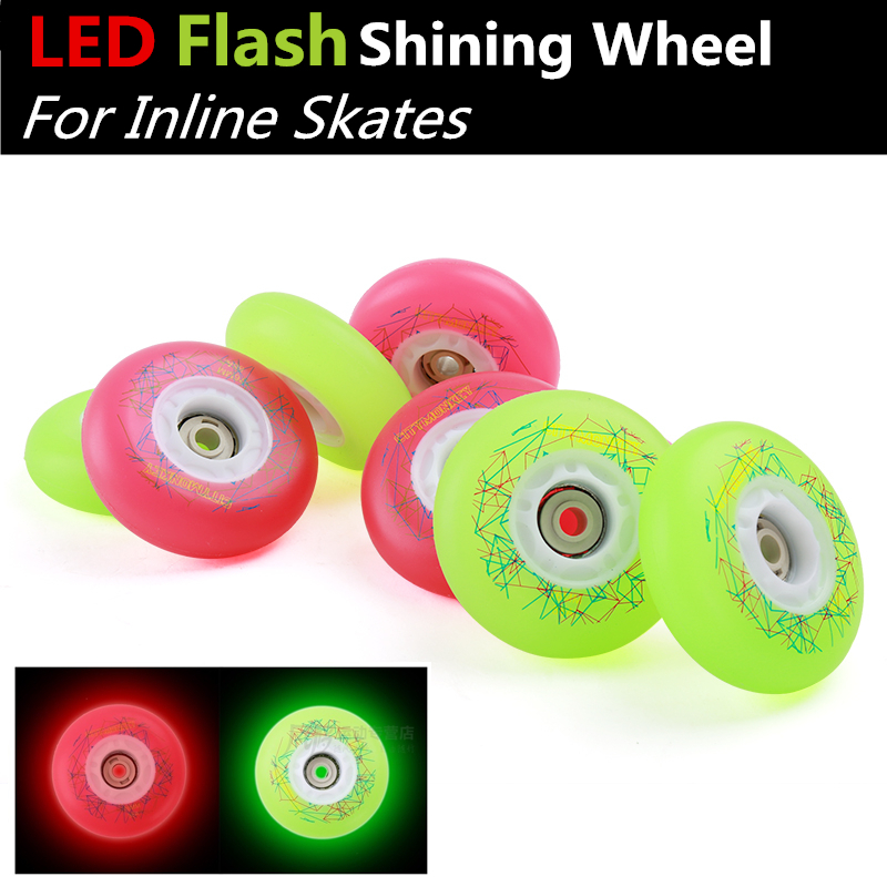 8 PcsLED Flash Shining Inline Skates 88A Wheel Original CityMonkey Roller Skate Wheels For Street FSK Slalom Braking Patins