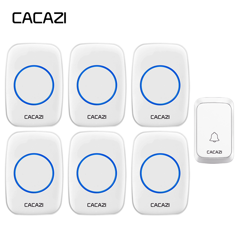 CACAZI Home Waterproof Wireless Doorbell 300M Remote LED Light Battery Button Cordless Calling Bell US EU Plug 58 Chime 4 Volume цена