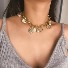 KingDeng Long Necklce Choker Jewelry Gold Punk Hip Hop Chain Multi-element Vintage Carved Pearl Zinc Alloy Women Geometric