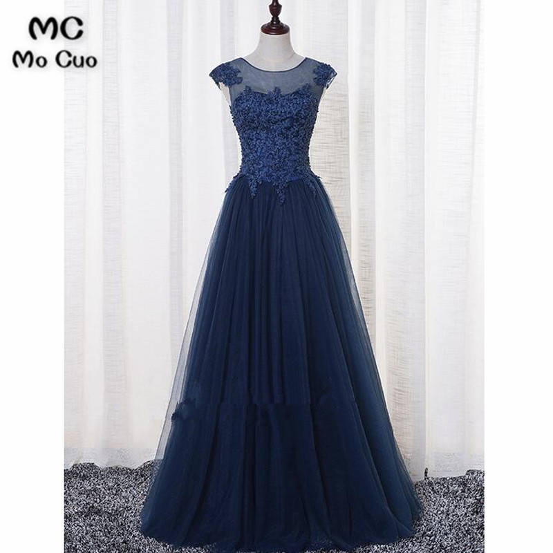 2018 Navy Blue   Evening     Dresses   Long with Appliques Pearls Vestidos de fiesta Formal Tulle Draped Sweep Train   Evening   Prom   Dress