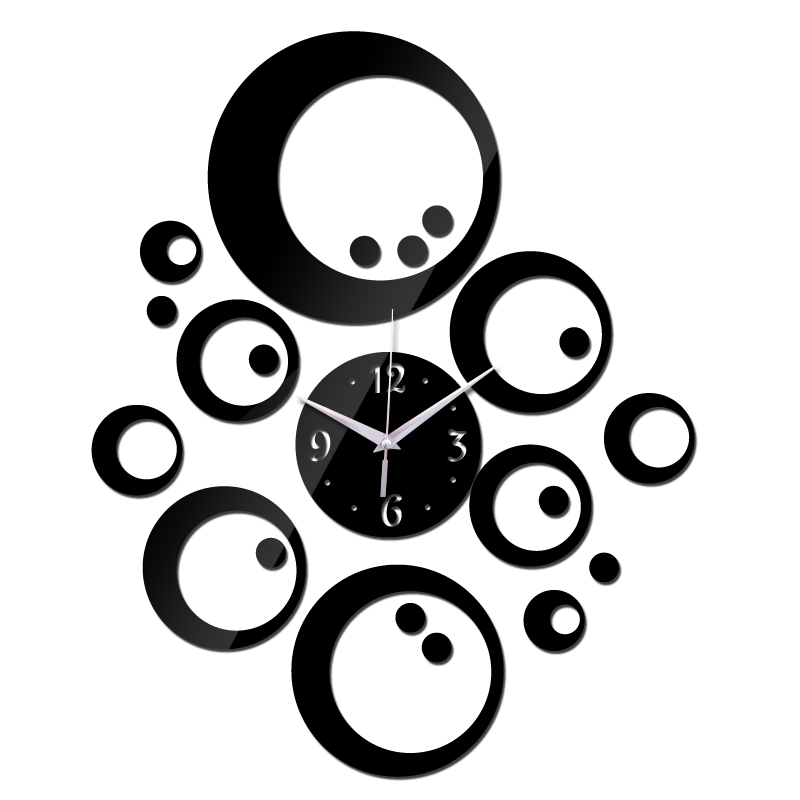 2015 promoção venda quente relógio de parede de quartzo clockmodern decoração diy 3d acrílico espelho antigo presente freeshipping