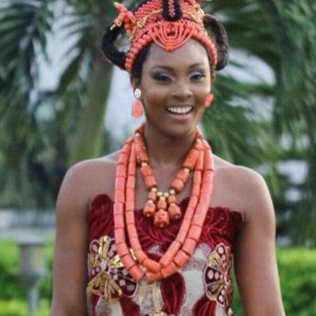 תכשיטים אפריקאים סט לנשים ניגרי חתונה אמיתי אלמוגים חרוזים תכשיטי סט אדו מסורתי כלה שרשרת סט משלוח חינם