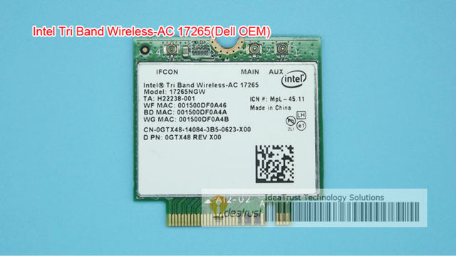 For Intel 17265 17265NGW 7265AC 802.11ad 80211.ac 4.7Gbps 867Mbps NGFF M2  Dual