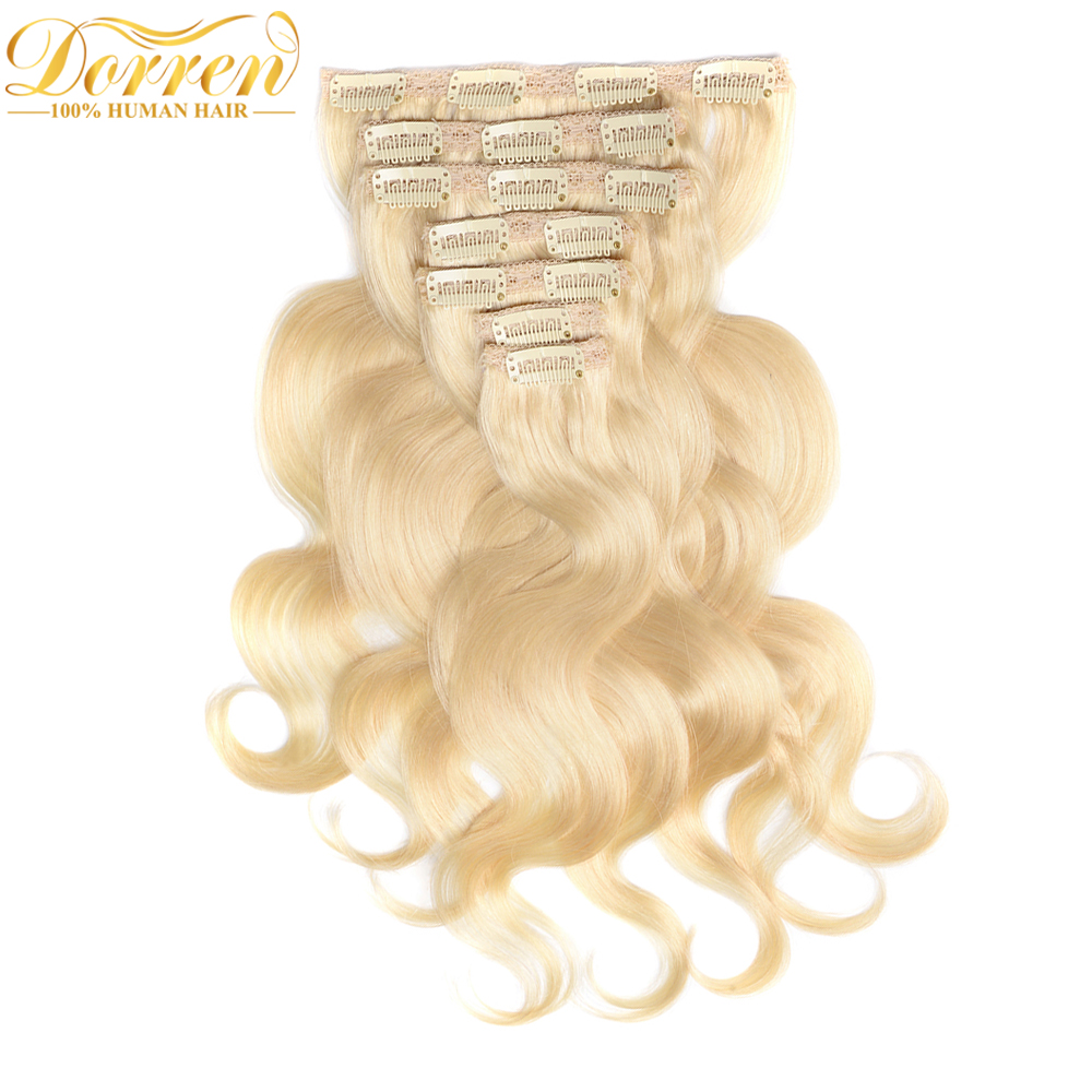 Doreen Full Head Brazilian Remy Human Hair Clip In Extension 60 120G Double Weft Blonde Clip