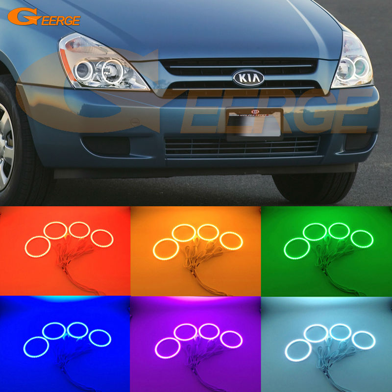 For Kia Sedona 2006 2007 2008 2009 2010 2011 2012 2013 2014 Excellent Multi-Color Ultra bright RGB LED Angel Eyes kit for kawasaki zx10r 2006 2015 2007 2008 2009 2010 2011 2012 2013 2014 red