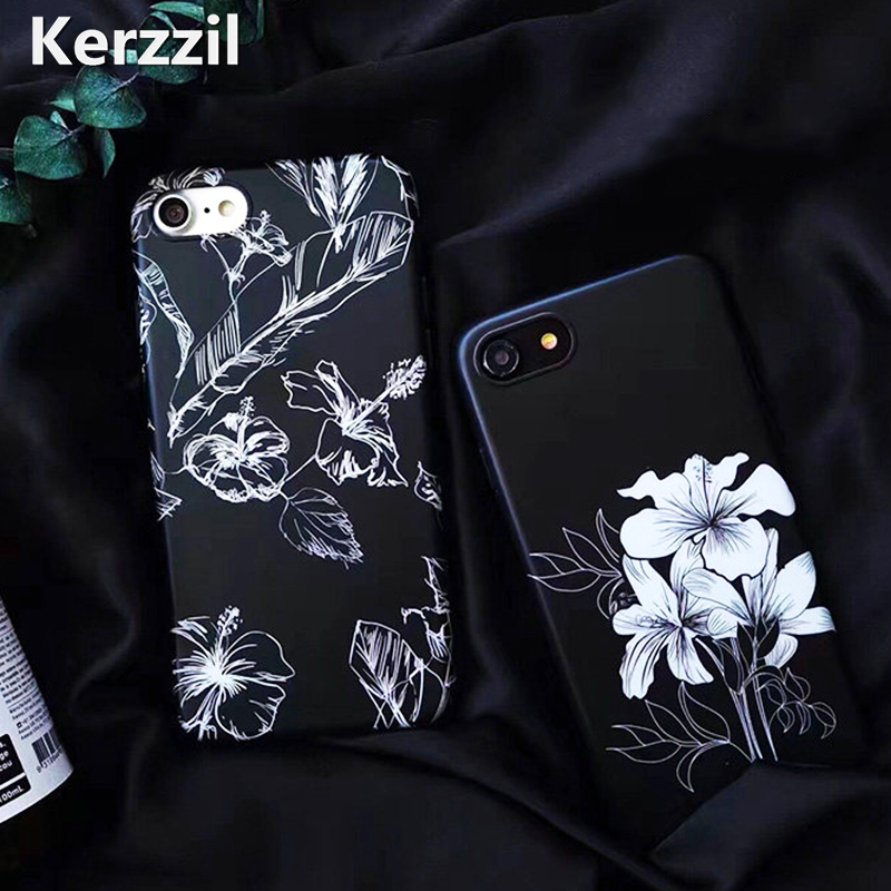 Kerzzil Retro Sketch Flowers For iPhone 6 7 8 Phone Case Black Silicone Soft Case For iPhone X 6S 7 8 Plus Cover Protective Back