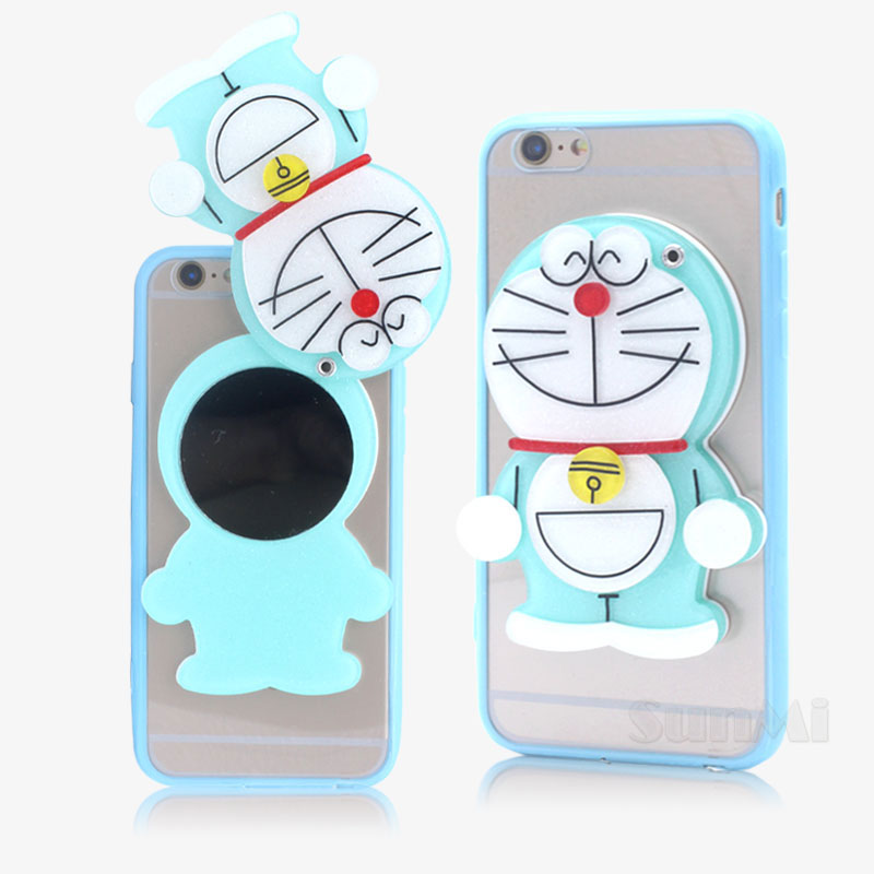 New Mirror Soft Silicone Hello Kitty Bear Doraemon Case for Apple Iphone 6 6s Plus Luxury Phone Case back Cover Shell 5.5 inch