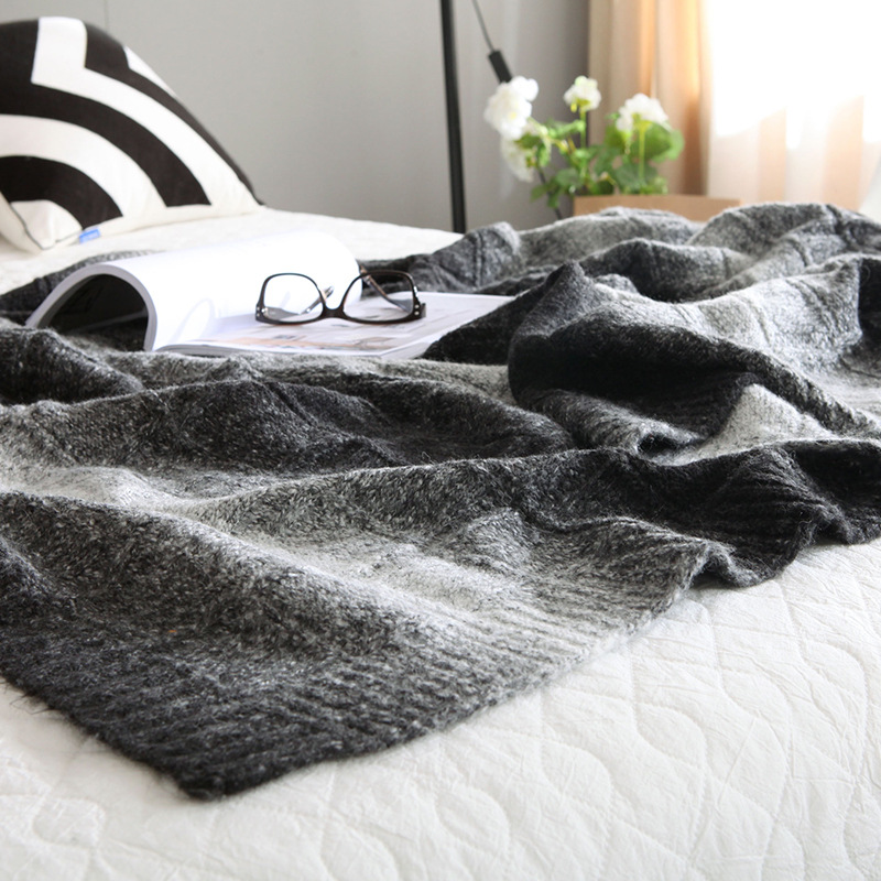Thicker Australian Merino sheep blanket gradient color Nordic knitted carpet blanket Shawl Hotels leisure Home sofa blanket big size nordic navy blue gray mixed sofa cover blanket 130 170cm simple style wearable blanket sofa towel car blanket
