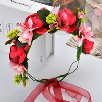 2018 New Women Rose Flower Headband Wreath Kids Party Floral Garlands Ribbon Adjustable Flower Crown Wedding Hair Accessories