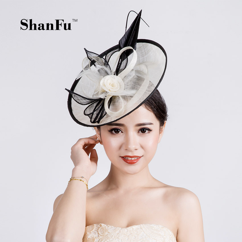 ShanFu Lady Sagittate Feather Fascinator Sinamay Wedding Hat with Headband For party SFC12578 free shipping high quality 2015 mini disc flower sinamay fascinator with feather for race
