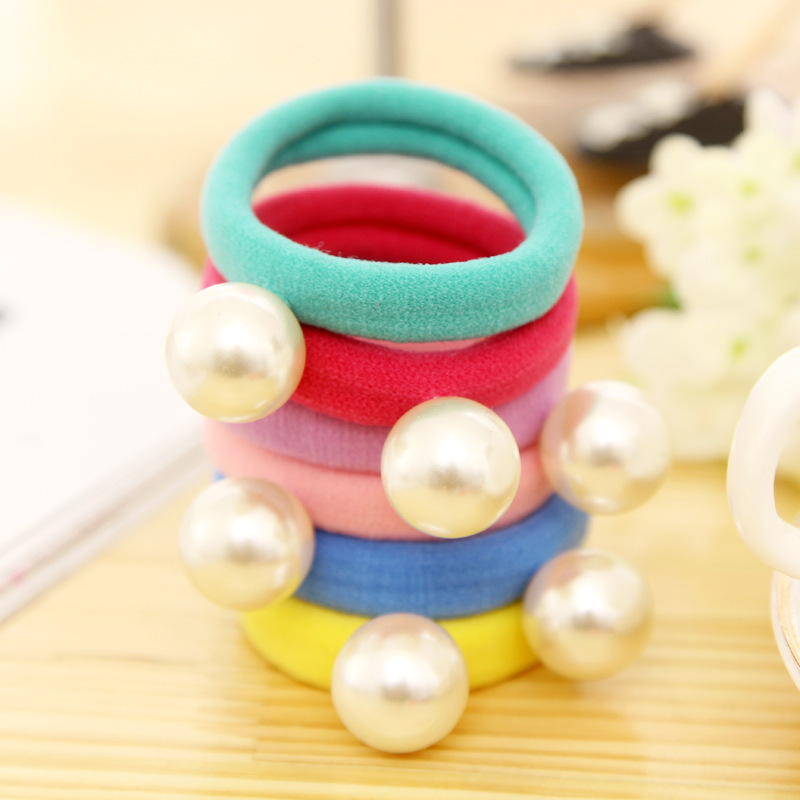 Big Simulated Pearl Pendant 6 Colors Elastic Hair Rubber Bands Girls Headbands Headwear Hair Accessories for Women free shipping 10pcs lot new adult elastic hair bands women headwear for girls hair rope headbands accessories 14 colors 15cm