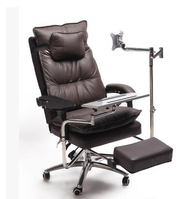 Купить с кэшбэком Real leather computer desk and chair. A single table can be reclined. E-sports chair..