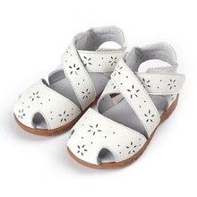 2017 Sandales D'été En Cuir Véritable Enfants Chaussures pour Filles Évider Enfants Sandales Filles Princesse Chaussures Filles Sandales