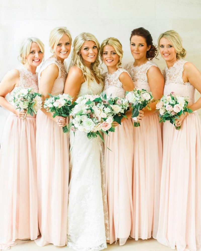 Light Pink Wedding Dress: Simple Lace Scoop Chiffon Long Bridesmaid Dresses 2016