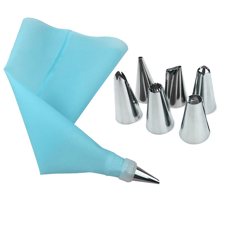 8 PCS/Set Silicone Kitchen Accessories Icing Piping Cream Pastry Bag 6 Stainless Steel Nozzle Set DIY Cake Decorating Tips Set(China)