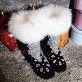 2016 moda mujer negro de piel de oveja botas de nieve con la decoración cristalina del Envío libre