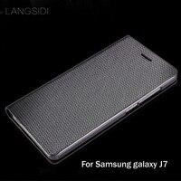 Langsidiブランド本革電話ケースダイヤモンドパターンクラムシェルhandphoneシェル三星銀河j7すべての手作