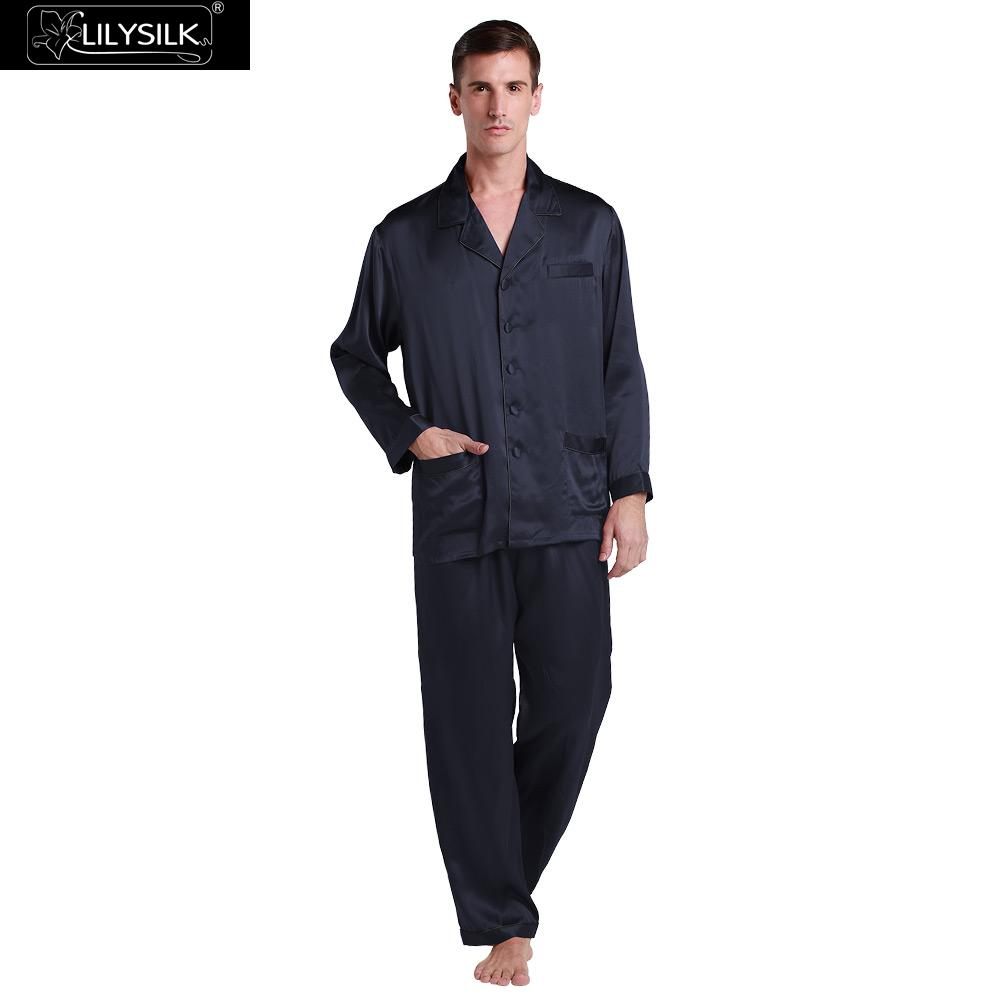 LilySilk Pajamas Set For Men 100 Pure Silk 22 momme Luxury Natural With Contrast Trim Men
