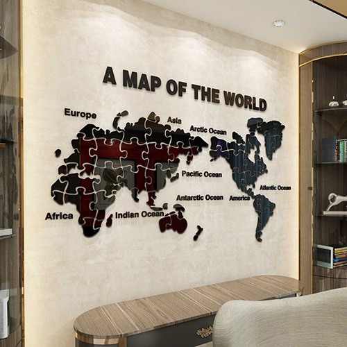 New Arrival World Map Puzzle Acrylic 3D Wall Stickers