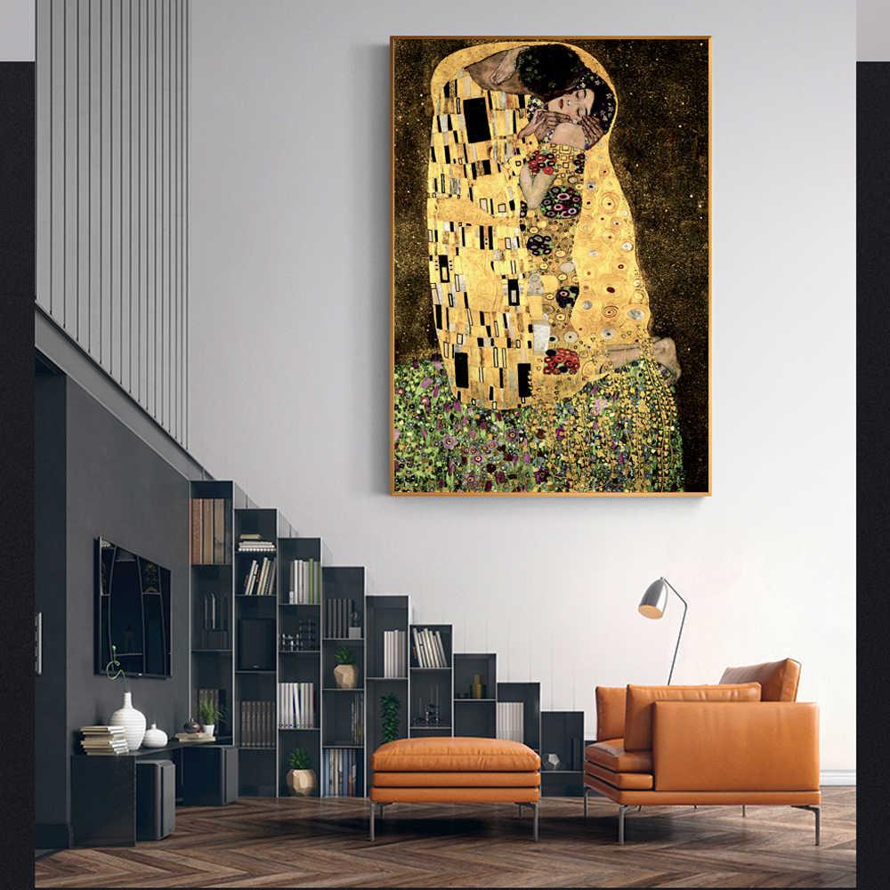 Gustav Klimt Bacio Famosi Dipinti Su Tela Riproduzioni Sulla Parete del Ritratto Classico Poster Da Parete Per Soggiorno Cuadros Decorazione